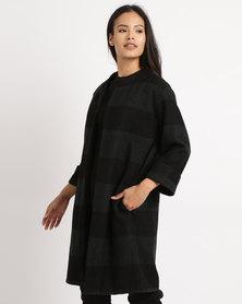 Utopia Melton Casual Coat Black