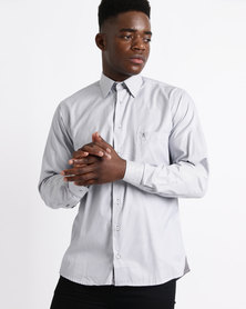 Phashash Mens Bruce Pin Stripe Cotton Shirt Grey