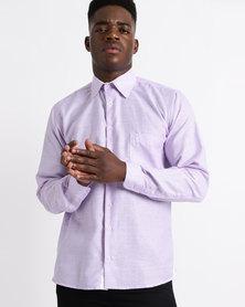 Phashash Mens Elias Prince Cotton Linen Shirt Lavender/Lilac