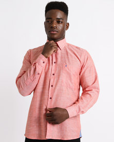 Phashash Mens Lethabo Prince Cotton Linen Shirt Tangerine