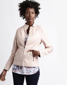 Queenspark Pleather Woven Jacket Pink