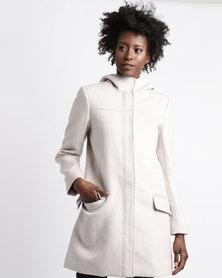 Queenspark Hooded Zip Through Woven Coat Stone