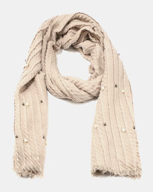 Queenspark Pearl Design Poly Scarf Natural
