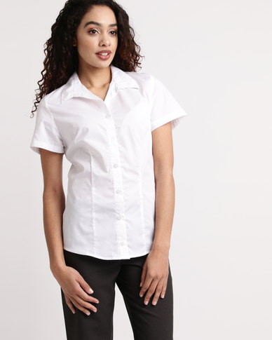 Duchess Roselina Short Sleeve Blouse White