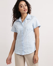 Duchess Roselina Short Sleeve Blouse Sky Blue