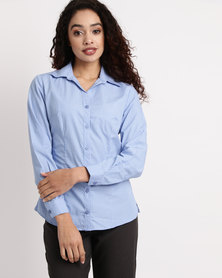 Duchess Donna Stripe Blouse Long Sleeve Blue/White