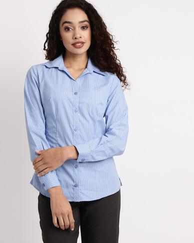 Duchess Donna Stripe Blouse Long Sleeve Blue/White
