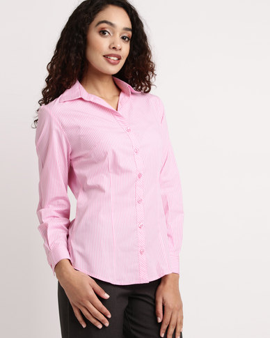 Duchess Donna Stripe Blouse Long Sleeve Pink/White