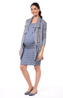 Annabella Maternity Little French Dress 3/4 Sleeve Stripe Multi