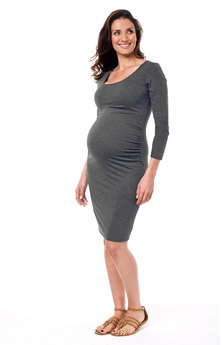 Annabella Maternity Taya Dress 3/4 Sleeve Charcoal