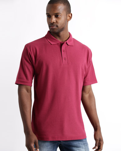 Tee & Cotton Classic Pique Knit Polo Maroon