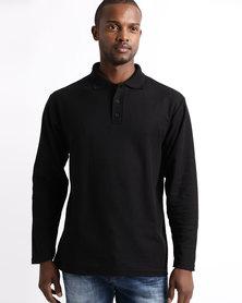 Tee & Cotton Long Sleeve Pique Knit Polo Black