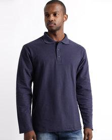 Tee & Cotton Long Sleeve Pique Knit Polo Navy