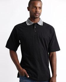 Tee & Cotton Jacquard Collar Golfer Black
