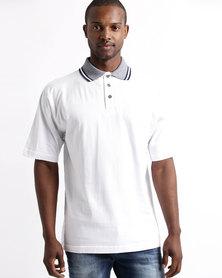 Tee & Cotton Jacquard Collar Golfer White