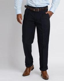 Vangard Phillip Single Pleat Trousers Navy