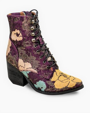 Jeffrey Campbell Elmcrom Vegan Boots Purple Flower