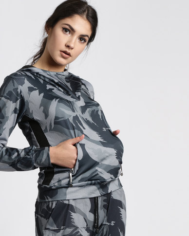 Fifth Element Camoufler Hooded Top Grey Camoflage