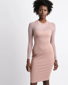 Utopia Mesh Inset Shift Dress Nude Pink