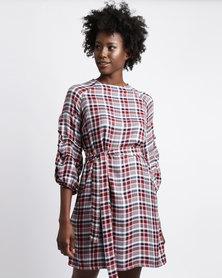 Utopia Check Tunic Dress Burgundy/Navy
