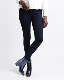 Sassoon High Rise Button Front Stretch Skinny Jeans Navy