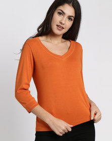 Utopia 100% Cotton 3/4 Sleeve Tee Orange