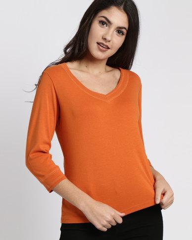 Utopia 100% Cotton 3/4 Sleeve Tee Orange