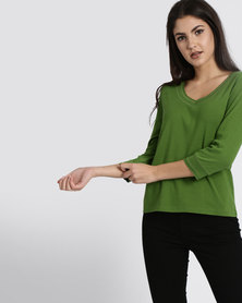 Utopia 100% Cotton 3/4 Sleeve Tee Green