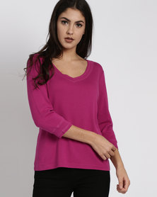Utopia 100% Cotton 3/4 Sleeve Tee Magenta