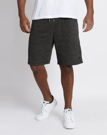 Utopia Herringbone Knit Jogger Shorts Charcoal