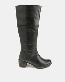 GIA by Queue Leather Long Boots On Block Heels Black