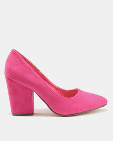 Wild Alice by Queue Pointy Courts with New Block Heel Fuschia