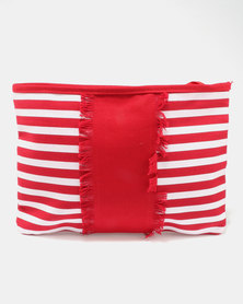Utopia Stripe Canvas Tablet Bag Red/White
