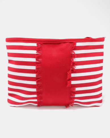 Utopia Stripe Canvas Tablet Bag Red/White