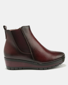 Pierre Cardin Super Comfort Elastic Gusset Wedge Ankle Boots Burgundy