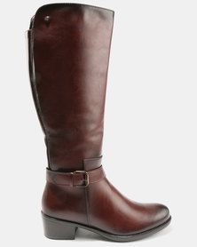 Pierre Cardin Mid Calf Boots With Buckle Detail Brown