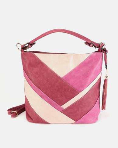 Utopia Colour Block Handbag Berry Combo