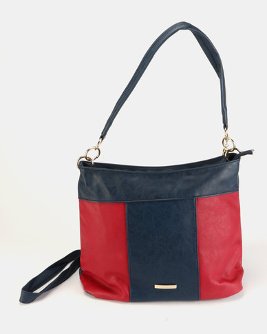 Utopia Colour Block Tassle Bag Navy