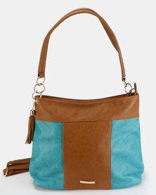 Utopia Colour Block Tassel Bag Tan