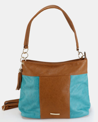 Utopia Colour Block Tassel Bag Tan
