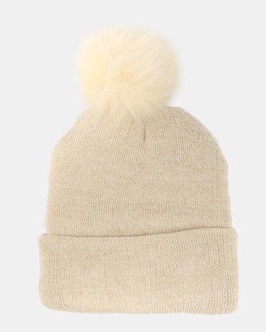 a38e0e93ff8 Utopia Knit Beanie Pom Pom Cream Beige