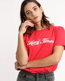 Unseen Hard Times Printed T-Shirt Red