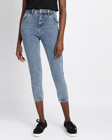 Unseen Anna Slim Straight Jeans Med Blue