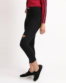 Unseen Nora Slit Knee Skinny Jeans Black