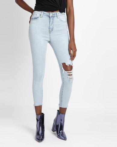 d1ef3404bbe Unseen Edge Rip & Repair Skinny Jeans Light Blue | Zando