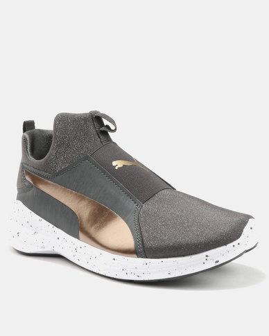 0eda8e06c4b4 Puma Rebel Mid Womens Speckles Sneakers Asphalt Bronze