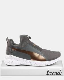 Puma Rebel Mid Womens Speckles Sneakers Asphalt/Bronze