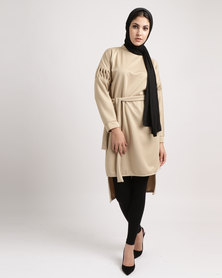 Shop.Style.Snap Eid Collection Pleated Sleeve and Tie Beige