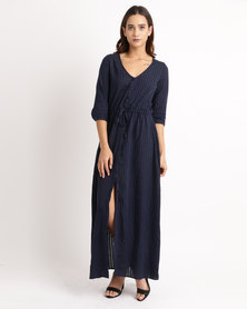 All About Eve Button Down Maxi Dress Navy