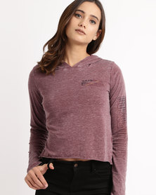 All About Eve Long Sleeve Top Burgundy